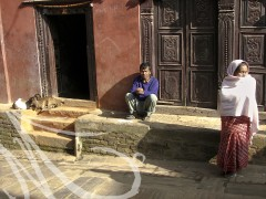 Fotografía de viajes, Nepal. En la puerta de una casa, en la calle, un hombre, una mujer y dos cabritas componen la escena